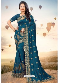Peacock Blue Heavy Jari Embroidered Mayo Silk Saree