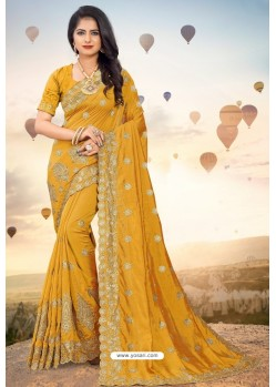 Mustard Heavy Jari Embroidered Mayo Silk Saree