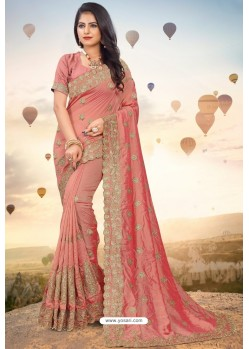 Peach Heavy Jari Embroidered Mayo Silk Saree
