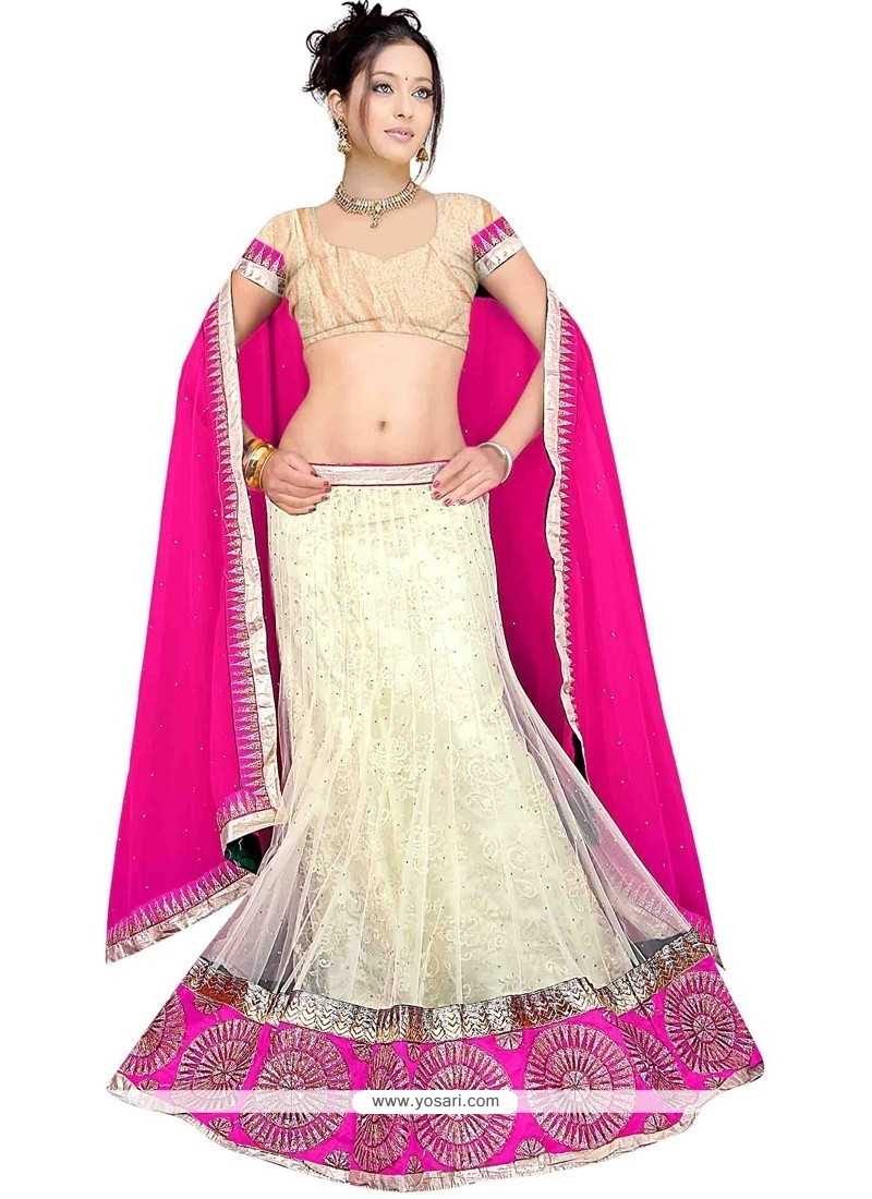 Versatile White Patch Border Work A Line Lehenga Choli