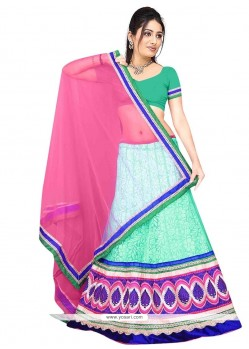 Mystical Net Pink And Sea Green A Line Lehenga Choli