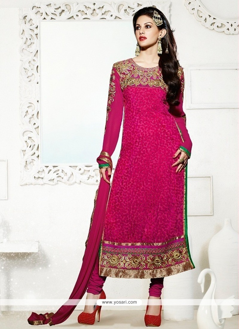 Deserving Georgette Hot Pink Churidar Salwar Kameez