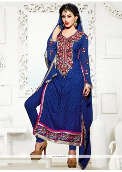 Especial Blue Georgette Churidar Salwar Suit