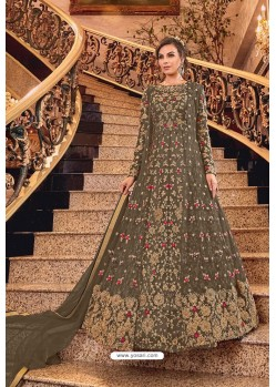 Brown Butterfly Net Designer Floor Length Suit