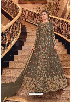 Brown Butterfly Net Designer Floor Length Suit