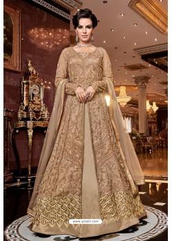 Beige Premium Net Designer Floor Length Suit