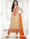 Fine Lace Work Georgette Churidar Salwar Kameez