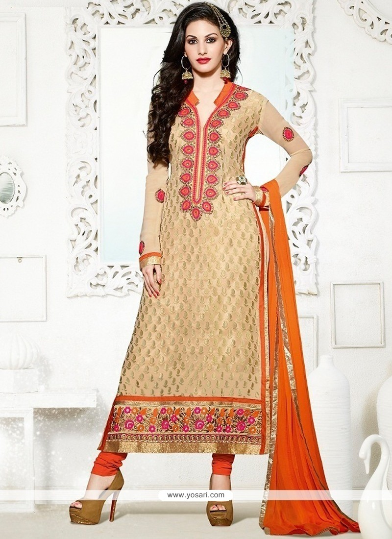Fine Lace Work Georgette Churidar Salwar Kameez
