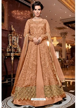 Orange Premium Net Designer Floor Length Suit