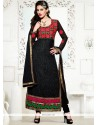 Graceful Georgette Embroidered Work Designer Straight Salwar Kameez
