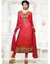Intrinsic Hot Pink And Red Lace Work Georgette Churidar Salwar Suit