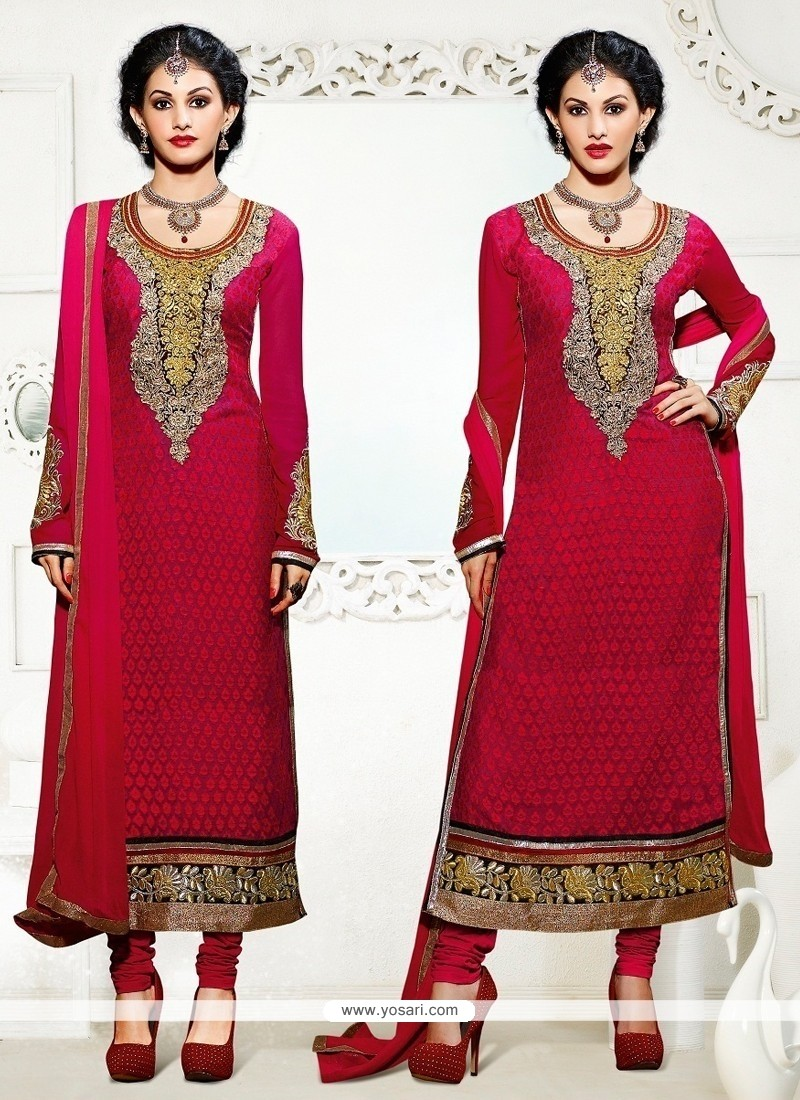 Amazing Lace Work Georgette Churidar Designer Suit