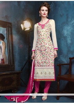 Noble Georgette White Resham Work Churidar Designer Suit