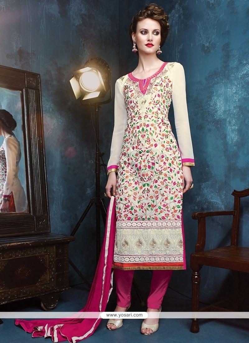 Noble Georgette White Resham Work Churidar Designer Suit