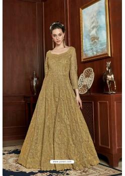 Mustard Designer Net Embroidered Indo Western Suit