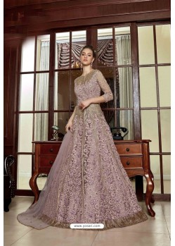 Mauve Designer Net Embroidered Indo Western Suit