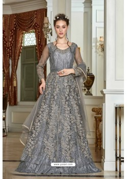 Grey Designer Net Embroidered Indo Western Suit