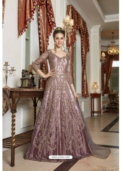 Dusty Pink Designer Net Embroidered Indo Western Suit