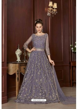 Lavender Designer Net Embroidered Indo Western Suit