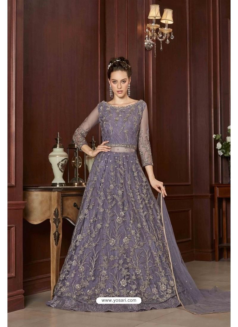 Lavender Designer Net Embroidered Indo Western Suit
