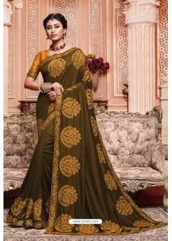 Mehendi Party Wear Vichitra Silk Saree