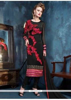Monumental Resham Work Black Georgette Churidar Salwar Kameez