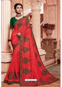 Crimson Party Wear Vichitra Silk Saree