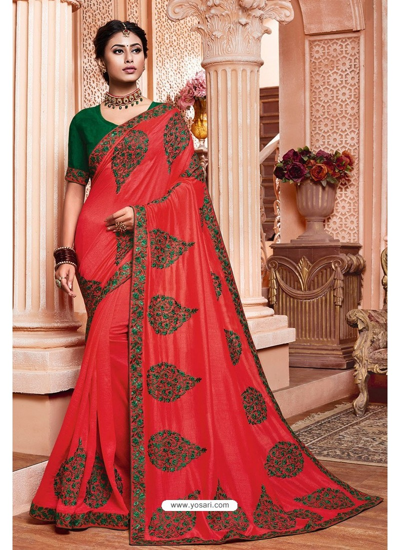 Crimson Party Wear Vichitra Silk Saree