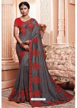 Grey Party Wear Vichitra Silk Saree
