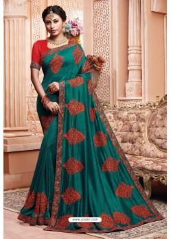 Teal Party Wear Vichitra Silk Saree