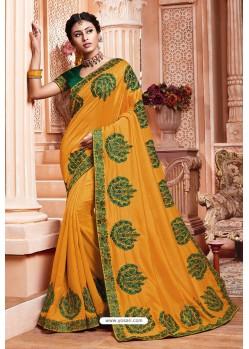 Yellow Party Wear Vichitra Silk Saree