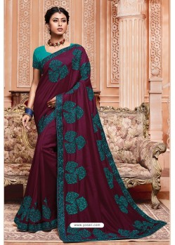Deep Wine Party Wear Vichitra Silk Saree