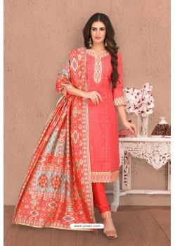 Orange Designer Thread Worked Chanderi Silk Suit