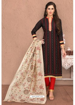 Black And Red Designer Chanderi Silk Suit