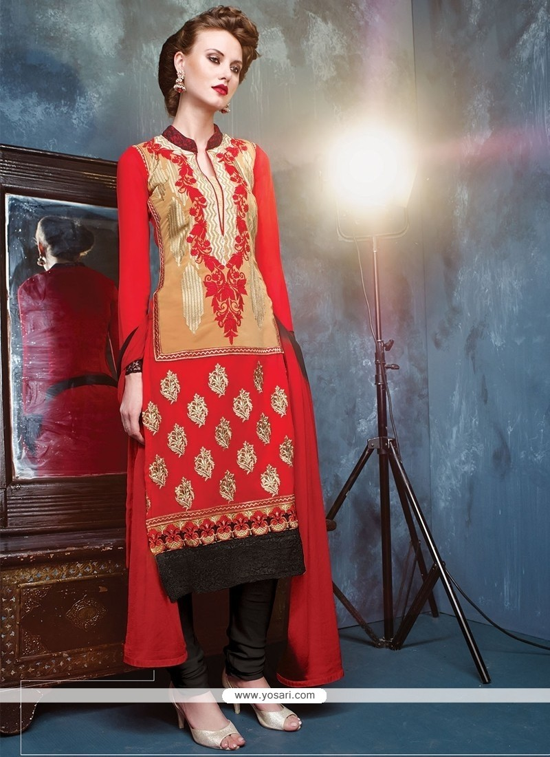 Sterling Georgette Lace Work Churidar Salwar Kameez