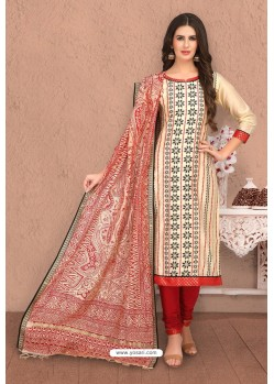Cream And Red Designer Banarasi Chanderi Silk Suit