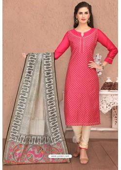 Rani And Cream Designer Chanderi Silk Suit