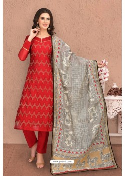 Red Designer Thread Worked Chanderi Silk Suit