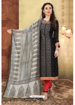 Black And Red Digital Printed Designer Chanderi Silk Suit