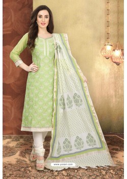 Sea Green And Off White Digital Printed Designer Chanderi Silk Suit