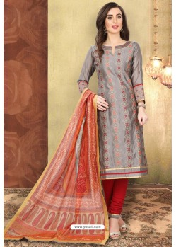 Grey And Red Digital Printed Designer Chanderi Silk Suit