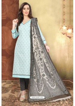 Sky Blue And Dark Grey Digital Printed Designer Chanderi Silk Suit