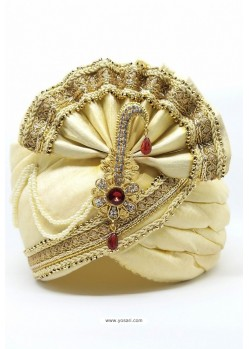 Cream Art Silk With Lace Wedding Turban