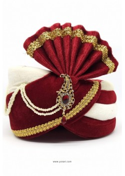 Maroon And White Art Silk With Lace Wedding Turban