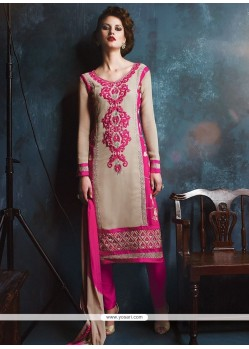 Majesty Lace Work Georgette Hot Pink And Beige Churidar Designer Suit