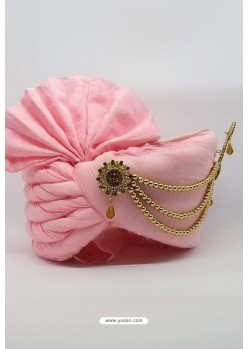 Pink Chanderi Silk Wedding Turban
