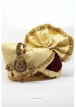 Cream Brocade with Velvet Wedding Turban