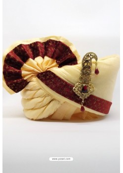 Cream And Maroon Chanderi Silk with Velvet Wedding Turban