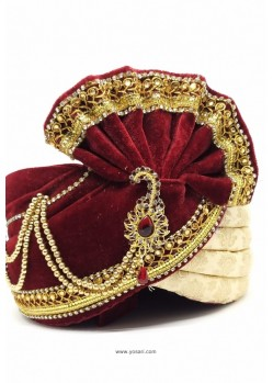 Maroon And Cream Velvet And Brocade Wedding Turban