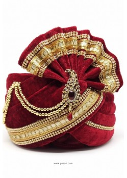 Ethnic Maroon Velvet Wedding Turban